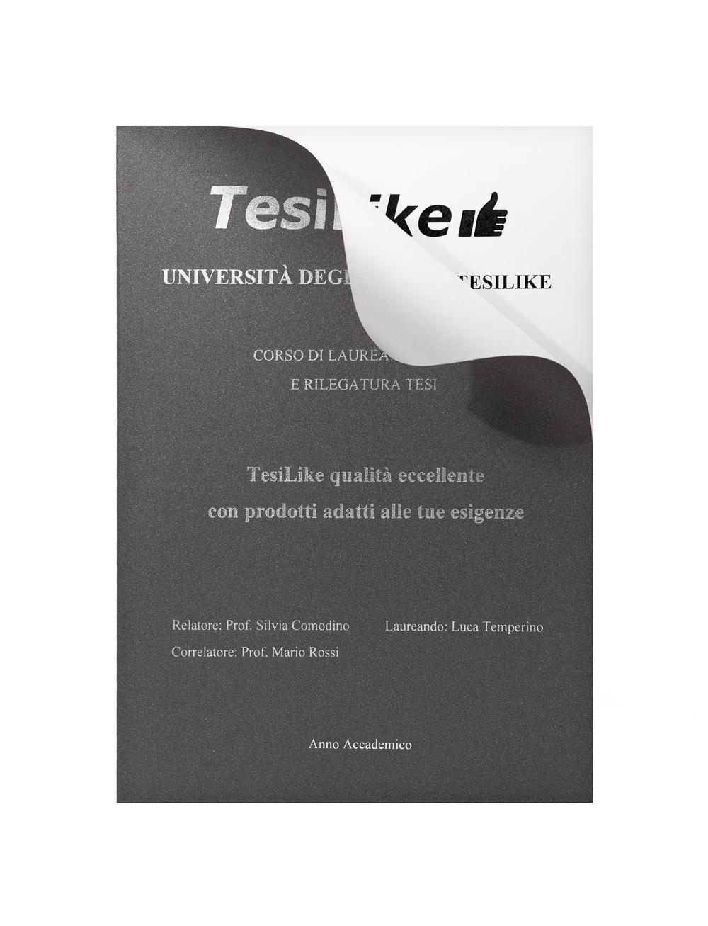 copertina-tesi-flessibile-grigia-frontespizio-argento-dettaglio-tesilike